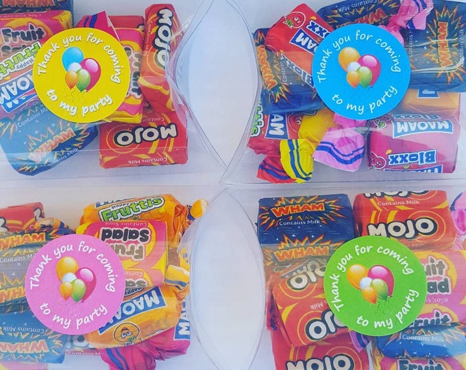 Childrens party sweet candy favours in pillow box. Favour stickers.