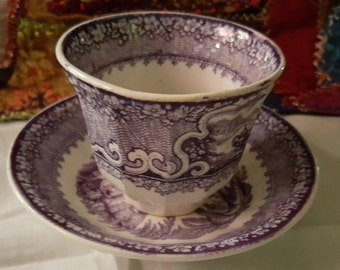 Purple Muhlberry Handleless Cup and Saucer
