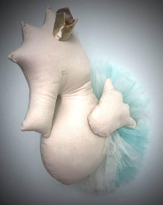 Seahorse flamingo swan wall decor. Faux taxidermy handmade Seahorse head bust wall decor faux kids room accent decoration