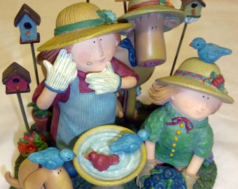 Sue Dreamer Friends Birdbath Figurine ~ Lang & Wise 1998 First Edition ~ Retired,Porcelain Collectible Figurine