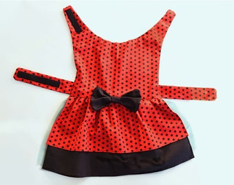 Polka dot dog dress with double layer skirt and Parisienne bow accent; tulle under layer; large dog sizes available