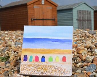 Water colour, canvas 'Beach huts'