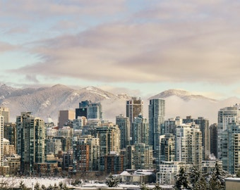 Digital photo download, Vancouver in the morning, snow, winter, mountain, cityscape, highrise, fine art, Print, photography, Canada