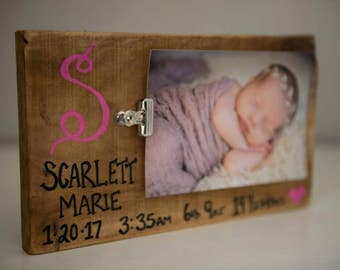Custom baby clip frame; personalized baby frame; baby gift; baby picture frame