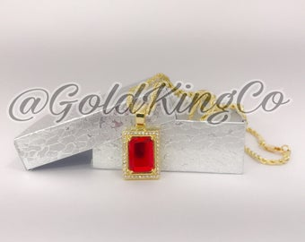 """Mens 14k Gold Plated Iced Out Red Ruby Octagon Pendant Hip-hop W/ 24"""" Yellow Gold Rope Chain"""