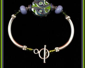 Lavender, Lime and Turquoise Flat Lampwork Bead & Silver Bracelet