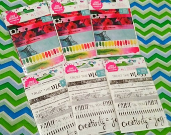 6 pk. Bundle :  Jane Davenport Designs Washi Tape Strips ~Bundled Set of 6~ 5 Sheets per Pack