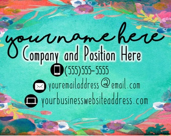 Turquoise Floral Custom Business Card