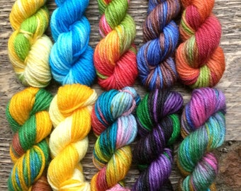 Hand Dyed Sock Yarn Mini Skein Set #57 -- 10 Mini Skeins -- 25 Yards Each/5.5 Grams Each