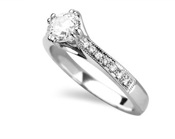 0.75 Carat Round Cut Diamond Engagement Ring In 14k White Gold