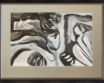 Composition, monochrome abstract painting