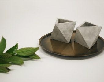 Concrete planter vase octahedron