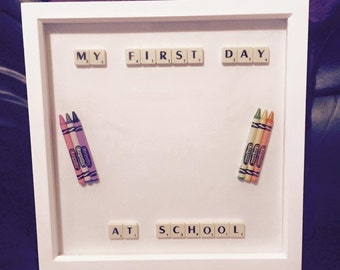 Scrabble frame - Handmade scrabble picture 'My first day at school' in a wooden box frame