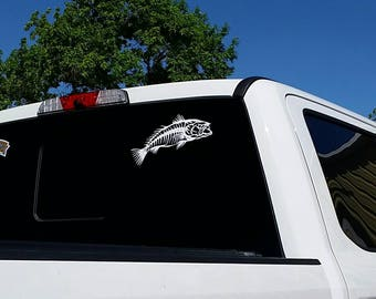 "Speckled trout skeleton 12"" wide decal"