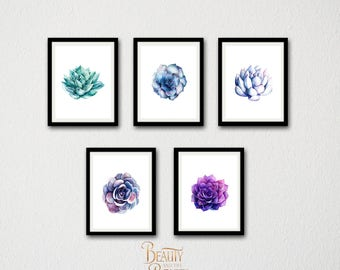 Succulent Print Set of 5, Succulent Printable Botanical Print Set, Tropical Plant Poster, Large Printable Poster, Modern Minimalist Art