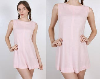 Vintage Mini Dress // 60s 70s Baby Pink Fit And Flare - Small