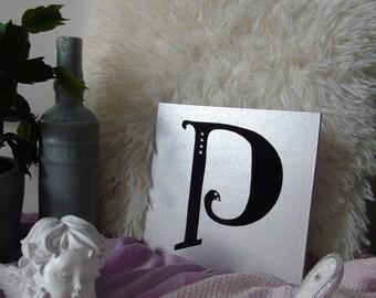 P - letter on wood, wooden letter, made hand, handmade, gift, present, gold or silver, gold or silver, black velvet, black velvet, rhinestones