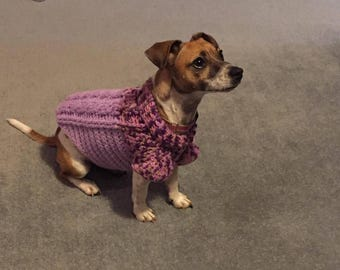 Crochet Cable Stitch Dog Jumper.