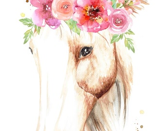 Beautiful Horse with Flower Crown - Print