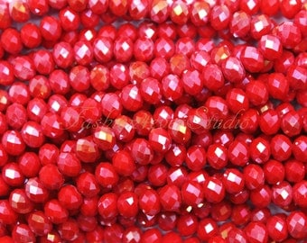 4mm 6mm 8mm Crystal Faceted Rondelle Beads Full Strand, Crystal Beads, Beading Supplies, Jewelry Supplies