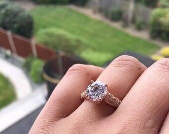 18k rose gold plated lab diamonds swarovski engagement wedding ring