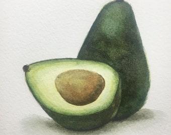 Avocado Anyone?, Original Watercolor Painting