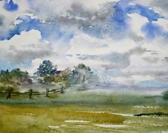 Landscape print, Original Watercolor print, Sky watercolor, Floating Cloud, Original Watercolor Painting, Tree painting, Wall Art