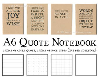 Quote Notebook, Use as Greeting Card and/or Gift   Recycled Kraft Pocket Journal   Functional Gift for Office   Quotation Gift for Writer