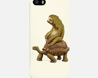 Funny iPhone Case, iPhone 6 Case Sloth, Turtle iPhone 7 Case, iPhone 6 Plus Case, White iPhone 5s Case, iPhone 5C Case, iPhone 4 Case