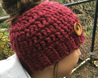 Red Berry Wine Messy Bun Hat with Wooden Button