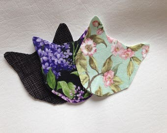 Two cat shaped set of patches elbow patch knee patch kitty floral flowers