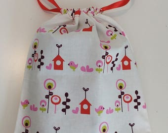 "Bag in bulk ""Birdhouse"" with red ribbons - zero waste - zero waste"