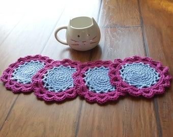 Crochet Coaster 4 pc set (fuchsia, Lavender blue)