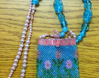 Beaded amulet purse necklace