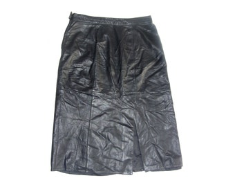 Vintage Norma Modell women skirt genuine leather black