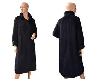 Vintage Klaus Puttmann Lamahaar Mantel Mode Piacenza 100% Baby Llama 1733 women long coat wool black leather straps