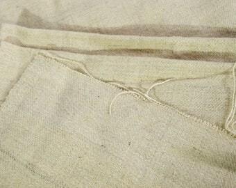 Vintage Antique linen hemp upholstery fabric homespun hand-woven