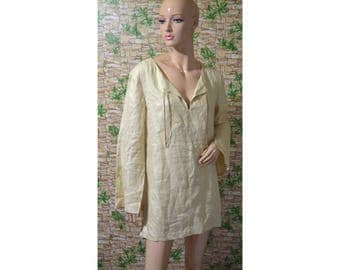 Vintage women blouse top linen beige