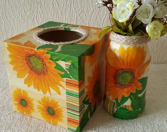 Square wooden decoupaged tissue box cover