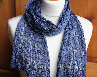Silk scarf, handknitted round Ribbon in pure silk, 4 colors