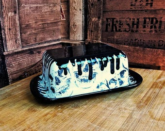 Butter dish dome, Skull drip design, unique Hand Painted, Weird and Wonderful, skull dome, kitchen item, gothic gift