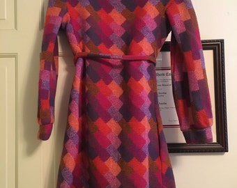 Plaid Wool Vintage Plaid Red Orange Dress 70s