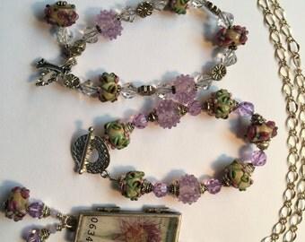 Lavender Fantasy 3-Pc Set - 2 Companion Bracelets and a Chain Necklace