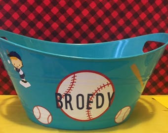 Baseball Toy Basket, Personalized Basket, Toy Bucket, Gift Basket, Kids Gift, Toy Basket, Baby Shower Gift Basket, Lego Bucket
