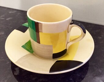 Susie Cooper Geometric Coffee Cup and Saucer Duo