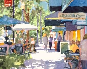 Print of Original Watercolor Painting, Park Avenue, Winter Park, Florida, street scene, cityscape, umbrella, people, Edie Fagan, Rollins