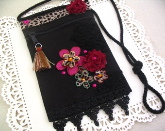 Embellished Canvas Altered Handbag Zipper Pouch Cross Body Pouch Accessory Bag Shabby Chic Collection