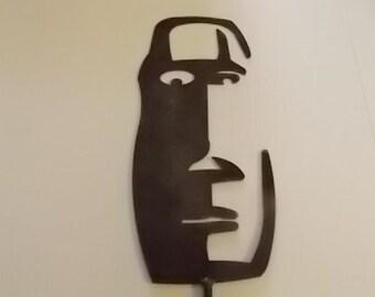 Tiki Face Metal Art Hanging Artwork or Yard and Garden with Ground Stake Art Metal Fab Fabrication Tiki God Face Indoor or Outdoor