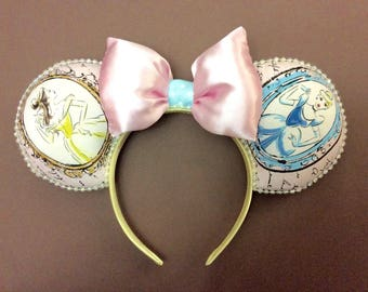 Cinderella and Belle inspired Minnie ears/Cinderella Minnie ears/Beauty and the Beast Minnie ears/Princess ears