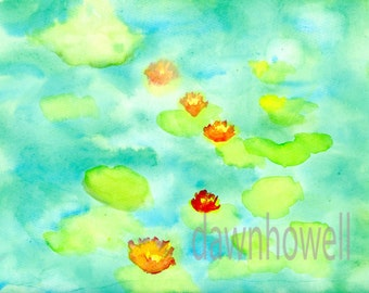 digital download of original Monet inspired red waterlilies watercolor painting